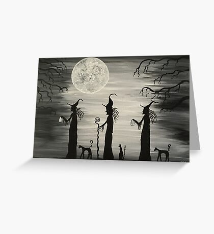 Three Tall Witches Greeting Card