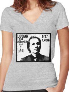 Julian Assange has a Wiki Women's Fitted V-Neck T-Shirt