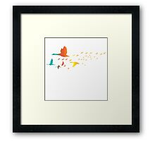 Colored spring birds geese ducks cranes Framed Print