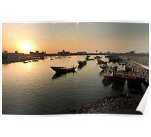 Fishing boats in Port Khaleed, Sharjah, UAE Poster