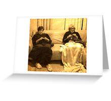 Two ladies knitting Greeting Card