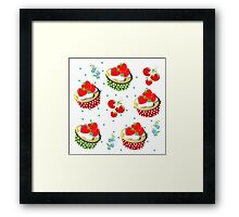 Cute Strawberry And Cream Cup Cakes Pattern Framed Print