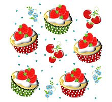 Cute Strawberry And Cream Cup Cakes Pattern Photographic Print