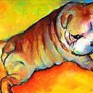 Cute Bulldog Puppy dog painting Svetlana Novikova by Svetlana  Novikova