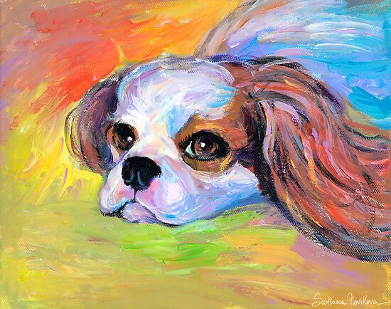 King Charles Cavalier spaniel dog portrait painting  by Svetlana  Novikova