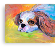 King Charles Cavalier spaniel dog portrait painting  Canvas Print