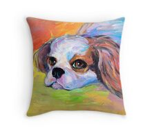 King Charles Cavalier spaniel dog portrait painting  Throw Pillow