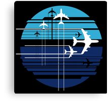 Geometric sky crossing airplanes Canvas Print