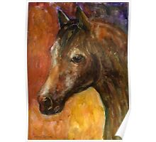 Watercolor Brown Horse painting Svetlana Novikova Poster