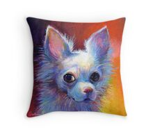 Whimsical chihuahua dog painting Svetlana Novikova Throw Pillow