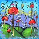 Mushroomland-Acrylic by Juli Cady Ryan