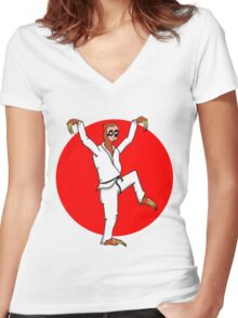 Karate Sloth Women's Fitted V-Neck T-Shirt