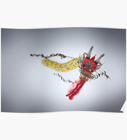 Chinese dragon flying higher Poster