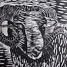 Welsh Ram....woodcut by Caroline Maddison