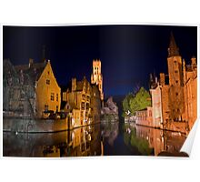 Historic heart of Bruges at night Poster