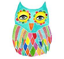 Watercolour Rainbow Owl Photographic Print