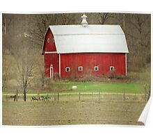 White Roof Barn with Vintage Farm Equipment Poster