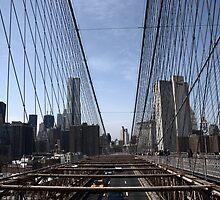 Brooklyn bridge dividing the New York scene by contradirony