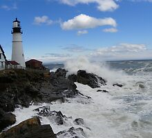 Portland Headlight After a  Big Storm at Sea by MaryinMaine