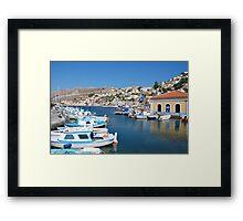 Boats at Yialos, Symi Framed Print