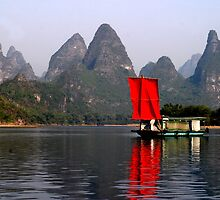 RED Sail Fine Art , Li River China by fotinos