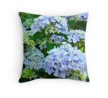 Blue Hydrangea Flowers Green Garden art Baslee Troutman Throw Pillow