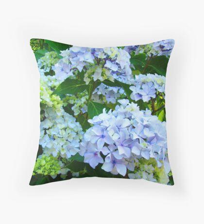 Blue Hydrangea Flowers Green Garden art Baslee Troutman Throw Pillow