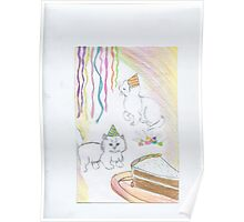 Kittens in party hats Poster