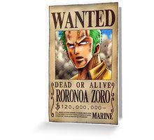 ONE PIECE - WANTED Roronoa Zorro Greeting Card