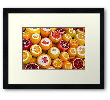 Oranges and pomegranates in Grand Bazaar Istanbul, TURKEY Framed Print