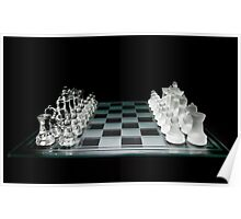 Glass Chess Set on Black - Ready to Play Poster