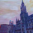 Munich Marienplatz cityhall watercolor by artshop77