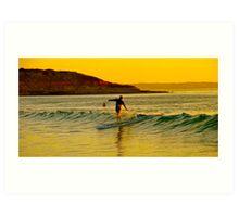 Surfing at dusk Art Print
