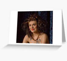 Clownish make up & hair & body tattoos Greeting Card