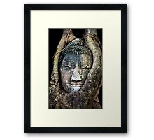 Buddha Head in Tree Framed Print