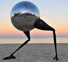 Walking on the beach at sunrise by Monika-J-Wright