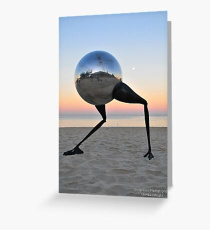 Walking on the beach at sunrise Greeting Card