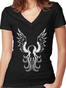 White Octopus Women's Fitted V-Neck T-Shirt