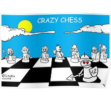 Crazy chess # 1 White pawns Poster