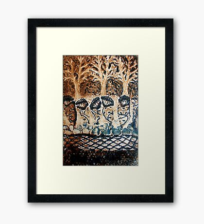 In My Blue Garden - Collagraph Print Framed Print