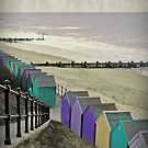 Beach Huts Blue by Simone Riley