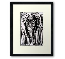 Nude Woman Bending - Ink on Glass Framed Print