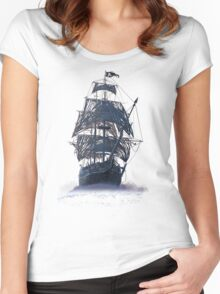 Ghost Pirate Ship at Night Women's Fitted Scoop T-Shirt