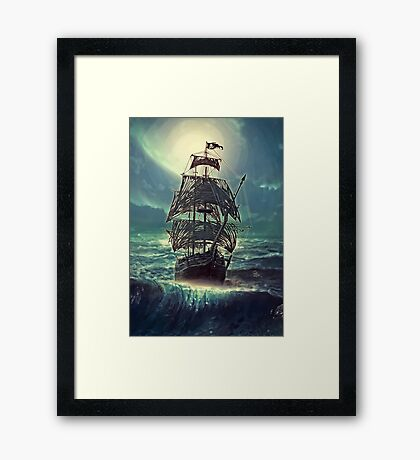 Ghost Pirate Ship at Night Framed Print