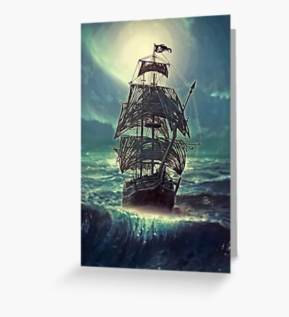 Ghost Pirate Ship at Night Greeting Card