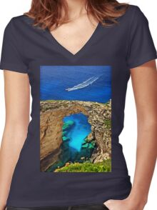 Rocky gate to the Ionian Sea Women's Fitted V-Neck T-Shirt