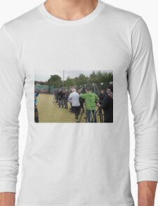 Boris Johnson almost runs into the press while playing rugby Long Sleeve T-Shirt