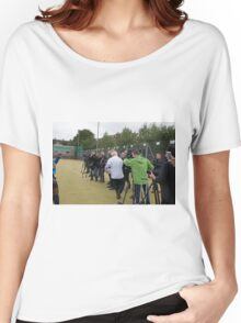 Boris Johnson almost runs into the press while playing rugby Women's Relaxed Fit T-Shirt