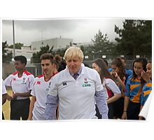 Boris Johnson playing rugby Poster