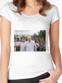 Boris Johnson playing rugby Women's Fitted Scoop T-Shirt